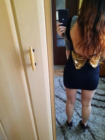 Sukienka mała czarna, bez plecow,piekny tył XS/S