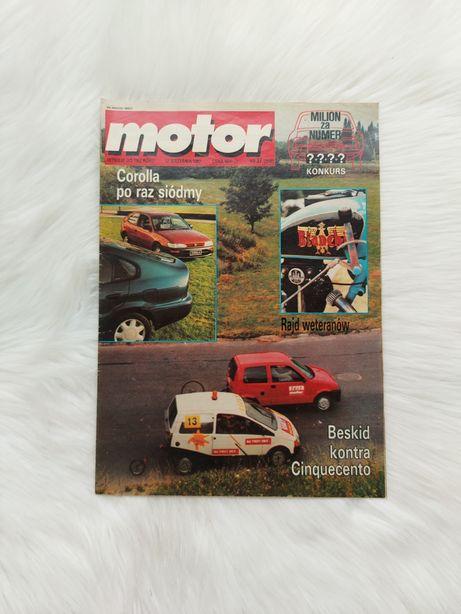 Czasopismo Motor z 1992 roku w stanie bardzo dobrym, z plakatem