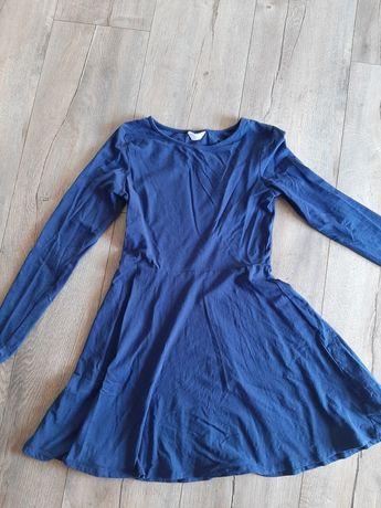 Sukienka granatowa bawełniana z długim rękawem na codzień r. 36 38 s m