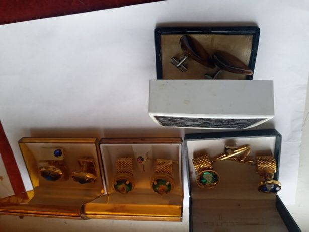 Винтажный набор запонки, зажим для галстука с ювелирным стеклом