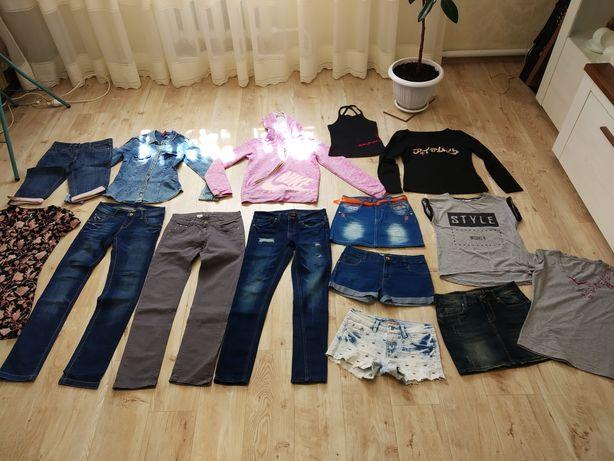 Пакет вещей (джинсы, кофта, футболка, юбка, шорты) на 7-10 лет