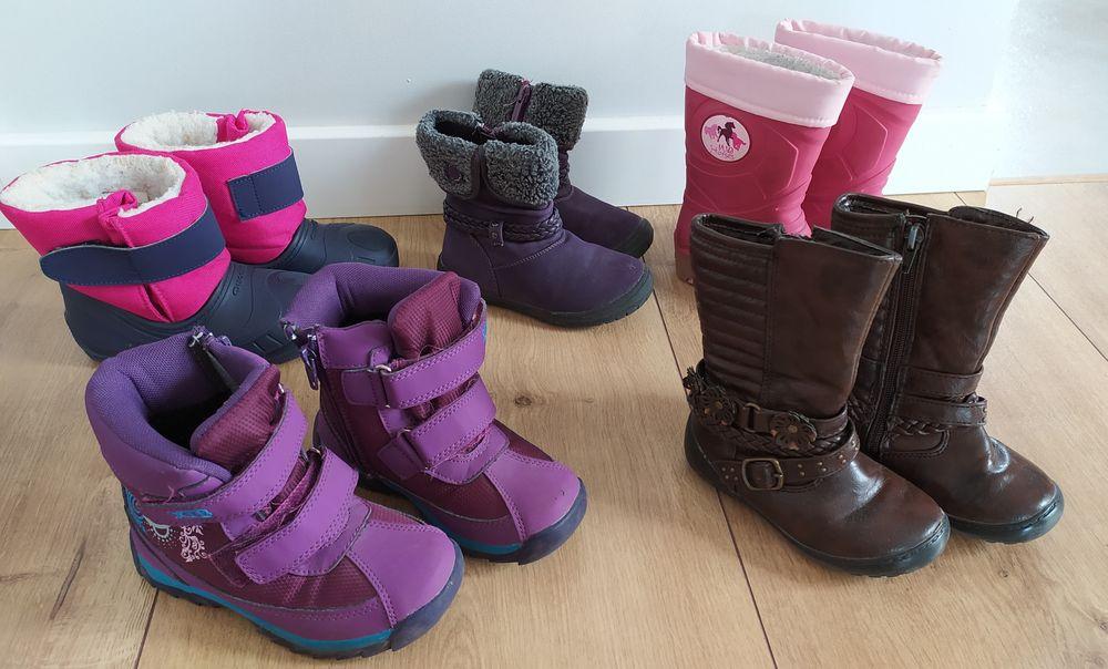 Zestaw buty zimowe śniegowce kalosze rozm. 24/25 tanio na rzepy Łomża - image 1
