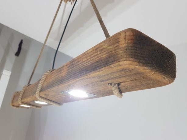 Lampy Led z Belki Drewnianej 130-220 cm styl Loft/Industrial.