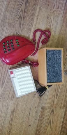 Telefon stacjonarny+głośnik w obudowie drewnianej+inne