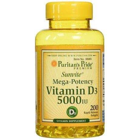 Puritans Pride Vitamin D3 5000 IU - 200 softgel