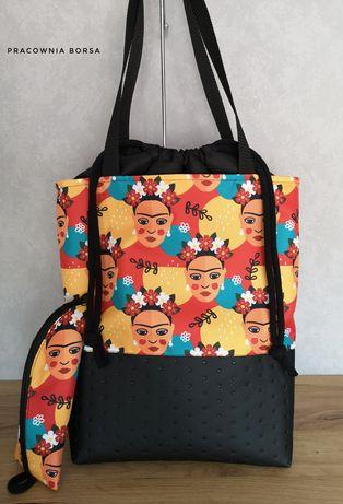 Shopperka torebka z kominem,ekoskóra, Frida,wilk,buldog,kosmetyczka