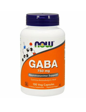 Now Foods ГАМК(Гамма-аминомасляная кислота) (GABA) 750 мг 100 капсул