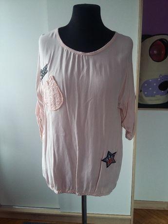 WYPRZEDAŻ Nowa bluzka tunika pudrowa naszywki różowa jak MEGI WAWA