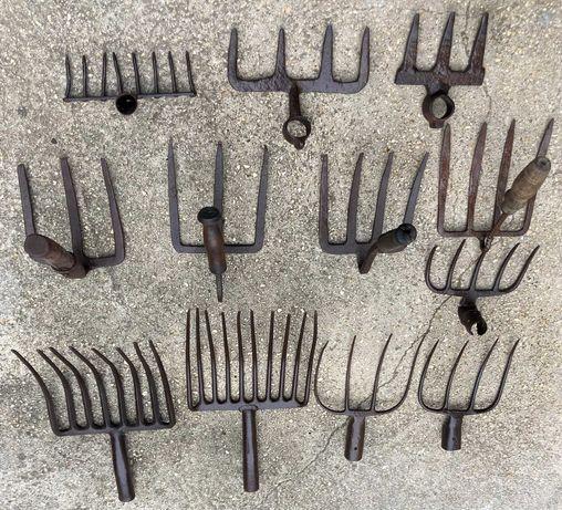 ancinhos e forquilhas antigas, 12 peças
