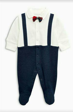 Человечек нарядный на мальчика джентльмен слип 0-1,5 месяцев