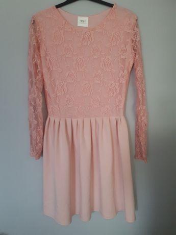 Sukienka koronkowa rozkloszowana pudrowo różowa NOWA