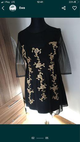 Zwiewna sukienka czarno -złota koronka gipiura L XL