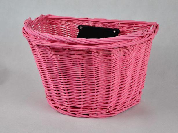 Wiklinowy koszyk na rower, na klik, różowy