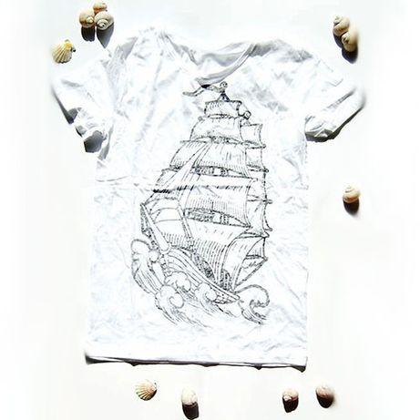 rozmiar M koszulka żagle,żeglarska koszulka M,koszulka z żaglowcem baw