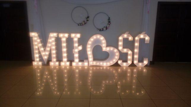 Litery z żarówkami, Love Miłość Mr Mrs