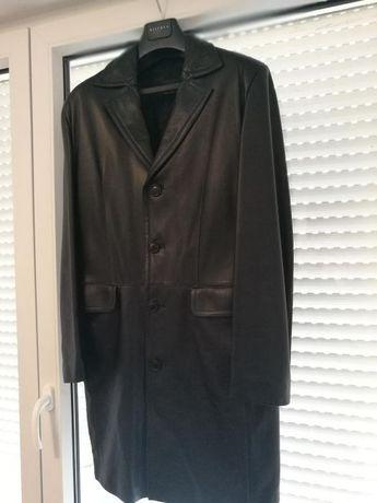 Płaszcz skórzany męski L