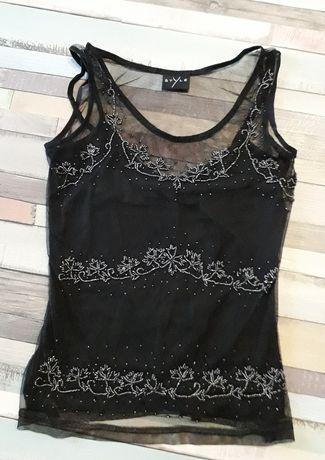 Bluzka czarna Indyjska wyszywana koraliki elegancka XS/S nowa