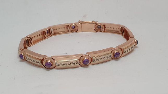 золотой браслет с бриллиантами и аметистами