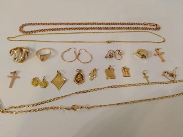 Złoty pierścionek, złoty łańcuszek, złote kolczyki, złota biżuteria