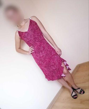 Burgundowa sukienka we wzory Shining Star Paris rozmiar M, z falbanką