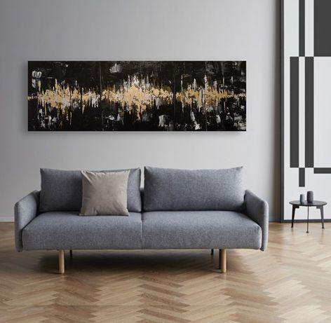XXL obraz akrylowy ręcznie malowany tryptyk 150x50 abstrakcja gold