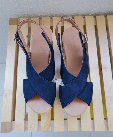 Sandálias Camurça Azul