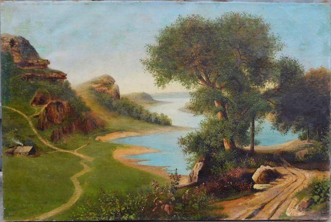 Старая картина Пейзаж, холст, масло, размер 52 х 78 см..