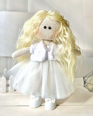 Кукла вязаная интерьерная Тильда портретная ручная работа