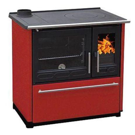 PLAMEN 850 GLAS czerwona kuchnia żeliwna na drewno