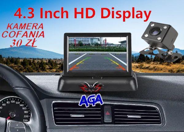 """Monitor LCD 4,3"""" 6-32V Składany Do Kamer Parkowania Cofania"""