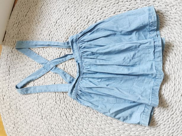 Spódniczka szelki jeansowa miękka 98
