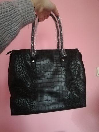 Czarna torba shopper nowa wzór zwierzęcy na ramię i do ręki