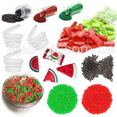 "Slime box ""арбузный сорбет"" набор добавок для слайма: шармики, блестки"