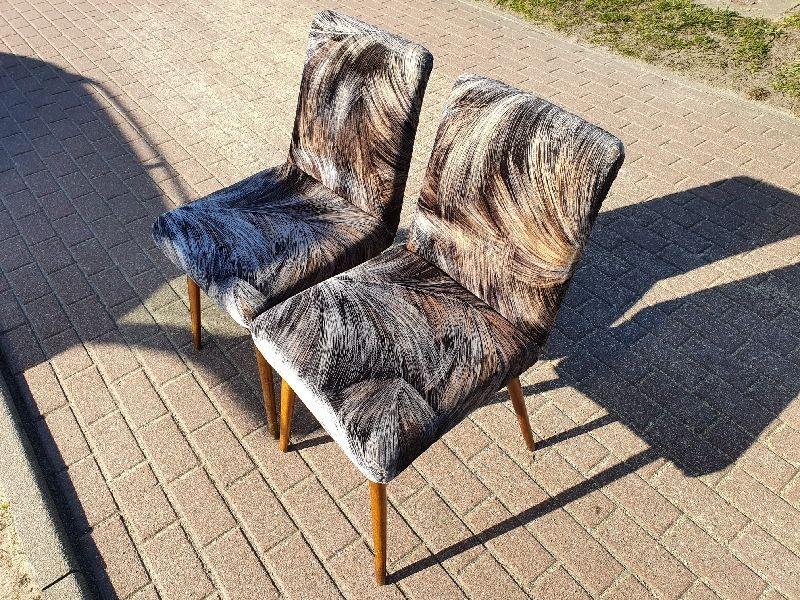 Krzeslo patyczak prl 2 krzesla tapicerowane vintage Rajmund Hałas Gdynia - image 1