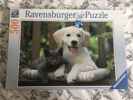 Puzzle Ravensburger 500 kawałków pies i kot