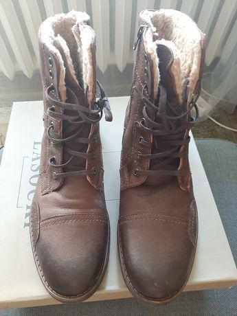 Brązowe skórzane męskie buty za kostkę Lasocki