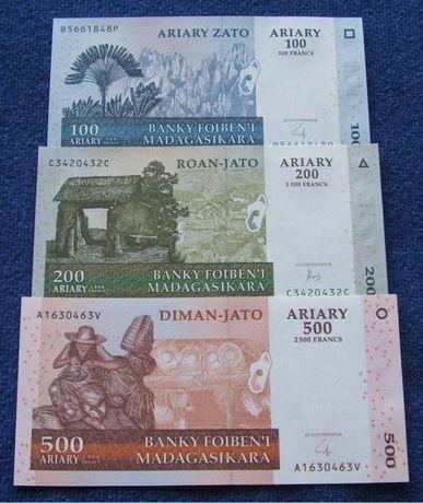 MADAGASKAR - Komplet Banknotów Kolekcjonerskich w Stanie UNC ZESTAW