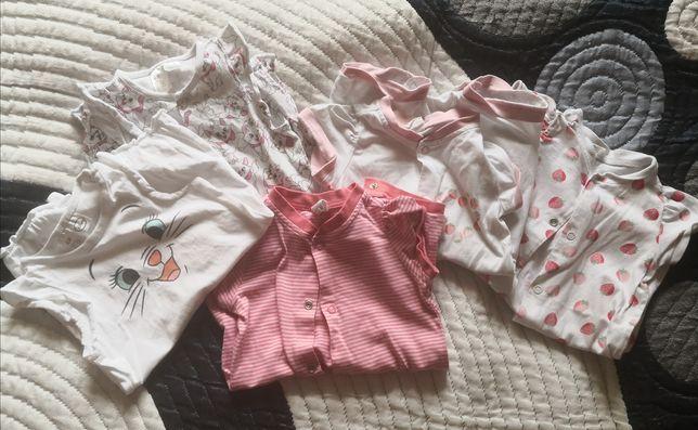 Zestaw H&M r. 62 rampers kombinezon piżama lato kotek truskawki różowy