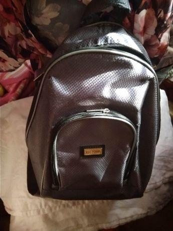 детский рюкзак небольшой серый с перламутром сумка 32cм высота