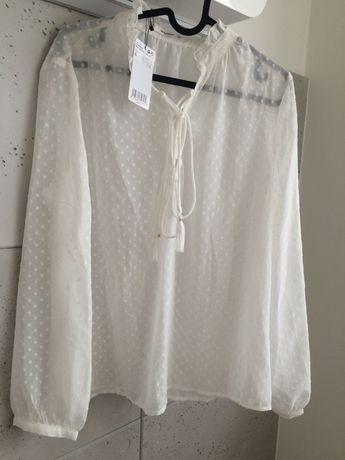 MANGO | biała bluzka prześwitująca kremowa ecru