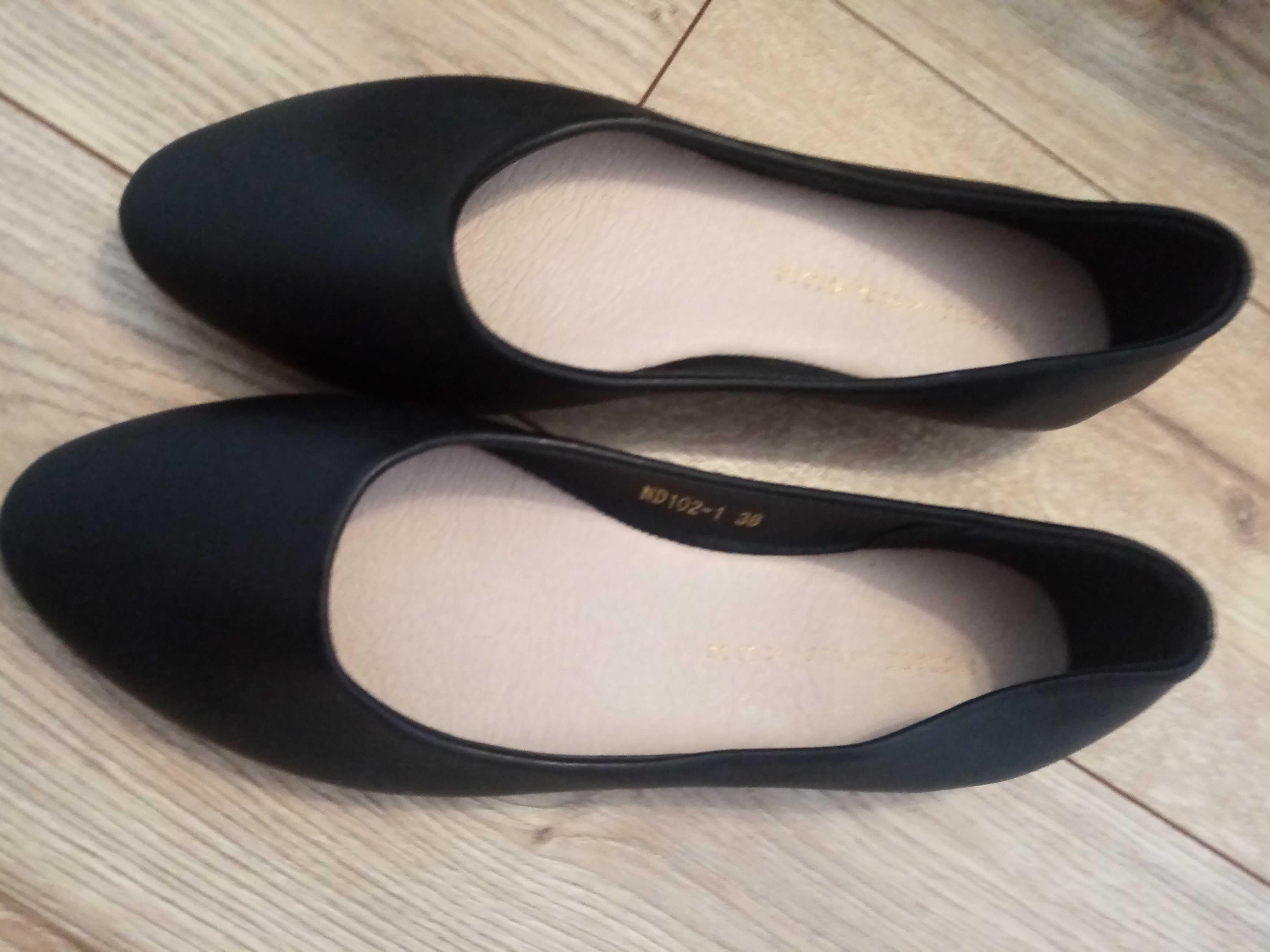 Baleriny buty rozm. 38 czarne,  jak nowe