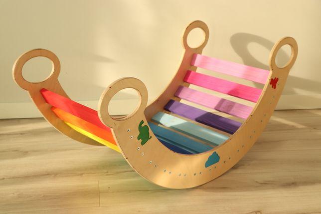 Kolorowy bujak dla dzieci / sklejka + drewno / 105cm / zabawka