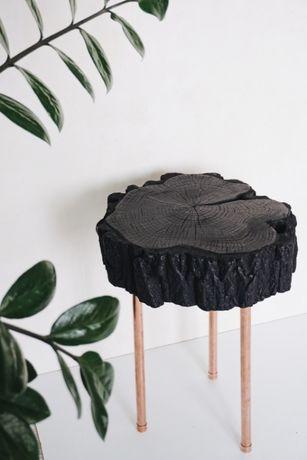 Stolik plaster akacji + miedziane nogi / miedź & drewno
