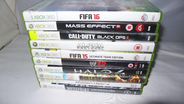 Zestaw 10 gier do XBox360 Fifa Mass Effect 3 COD W12 Halo4 Battlefield