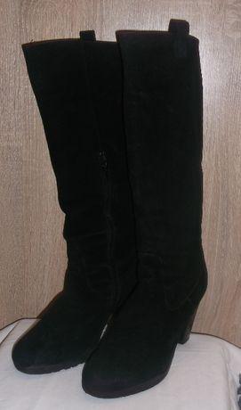Сапоги женские зимние замшевые черные