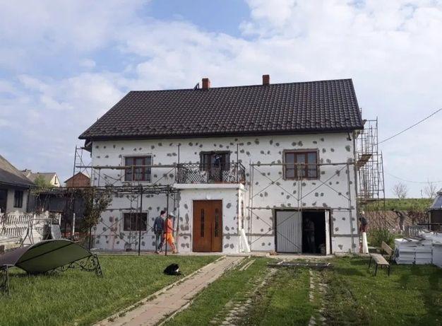Фасадные работы.утепление фасада и нанесение декора короед,барашек.