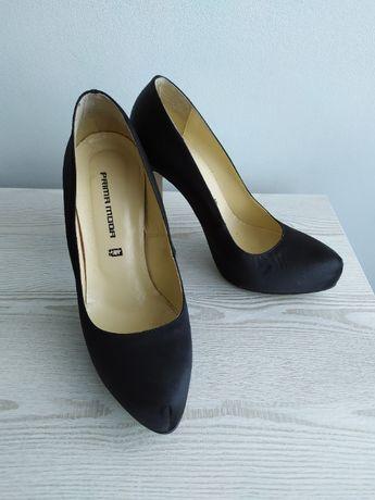 Eleganckie, wysokie, czarne szpilki rozmiar 39