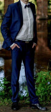 Elegancki garnitur smokingowy na ślub 50/182 marynarka + spodnie