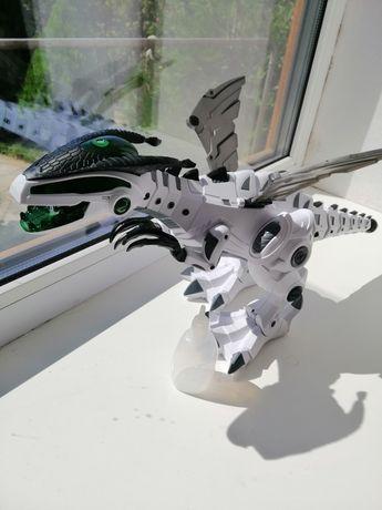 робот динозавр, дышит паром, дракон