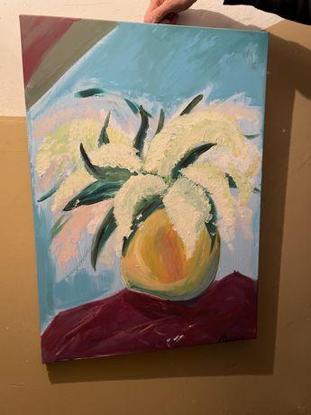Obraz ręcznie malowany 50x70 bzy w wazonie